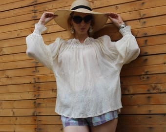 Linen Top - Linen Shirt Women - Shirt with sleeves - Plus size shirt - Linen Blouse - Loose Linen Shirt - Plus size top - Lace linen top
