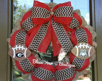"18"" burlap University of Georgia wreath with small logo footballs!"