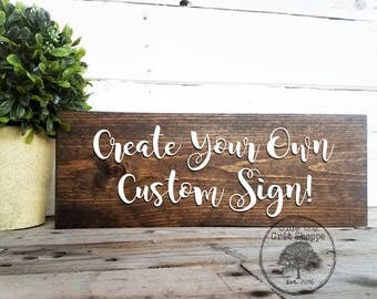 custom wood personalized family name sign create your own sign rustic home wall - Wood Sign Design Ideas