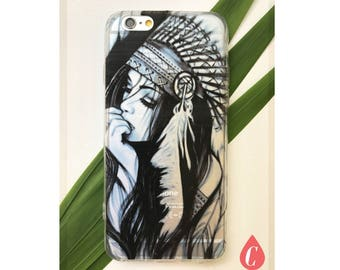 Henna Transparent Boho girl iphone case