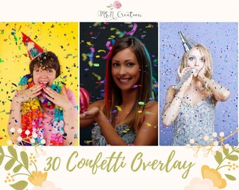30 Confetti Overlays, Birthday Overlays,Photoshop Overlays, Glitter Photography Wedding Photo Effect, Party Digital Backdrop Overlay