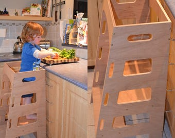 Kitchen Helper Tower - Montessori kitchen stool step stool learning tower cooking toddler stool kitchen decor & Little helper tower / table / chair all-in-one islam-shia.org