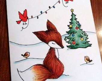 Christmas fox card