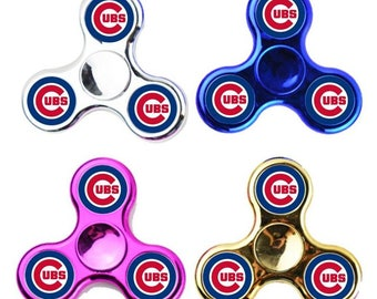 Chicago Cubs Fidget Spinner, Team Logo Gift, Desk Toy, Stress Relief Game, Kids Collectible Gift, ADHD, Focus, Anxiety Hand Finger Spinner