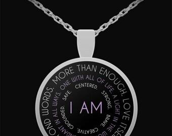 I AM Spiritual Mantra Silver Plated Pendant Necklace - Affirmation Necklace, Mantra Necklace, Mantra Jewelry, Spiritual Gift, I AM Necklace