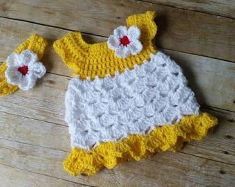 Crochet Baby Dress, Baby Dress, Baby Gift, Infant Dresses, Crochet 0-3 Months Dress, Photo Prop Dress, Infant Yellow Baby Dress, Girls