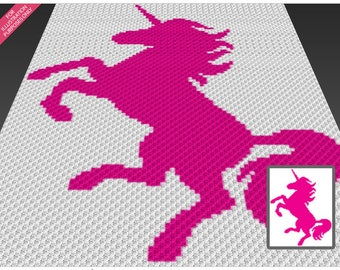 Unicorn Silhouette crochet blanket pattern; c2c, cross stitch; graph; pdf download; no written counts or row-by-row instructions