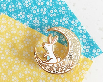 Moon Rabbit - Hard enamel pin - kawaii accessories, cute enamel pin, rabbit lapel pin, cute bunny enamel pin, rabbit pin, cute bunny pin