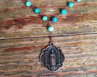 Blue beaded Marian necklace
