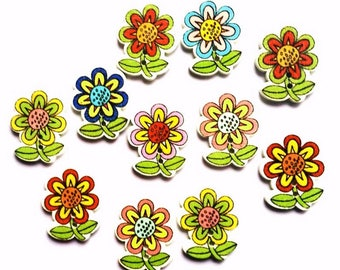 6 buttons flowered wooden painted 2.5 cm - 2 holes