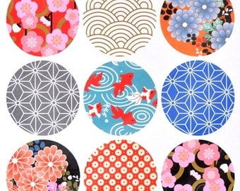 18 stickers labels round motif Japanese circle pattern (2 sheets) japanese label stickers