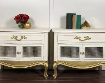 Pair of Vintage White and Gold French Provincial Nightstands by Drexel