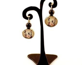 Gem - Stud Earrings - flowers cotton