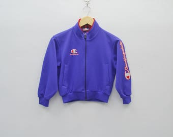 CHAMPION Track Top Vintage 90's Champion Products Athletic Gear Spellout Track Top Zipper Jacket Sweater Size Junior 130