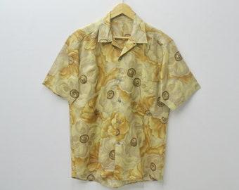 LANCEL Shirt Vintage 90s Lancel Button Down T shirt Lancel All Over Print Floral Design Size M