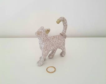 Cat Jewellery Holder, Ring Holder, Cat Ornament, Cat Statue, Jewellery Collection Holder, Small Home Decor, Gift for her, Cat lover, Glitter