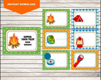 Camping School label - name label - name tag sticker - Back To school label - book label - this belongs to label INSTANT DOWNLOAD