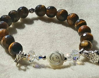Tigers Eye, MOP carved Rose, Star of David and Quan Yin