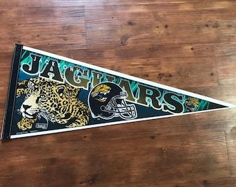 Vintage Jacksonville Jaguars Pennant 1990's NFL Memorabilia
