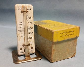Vintage Taylor Enamel Oven Thermometer, Oven Guide with Original Box