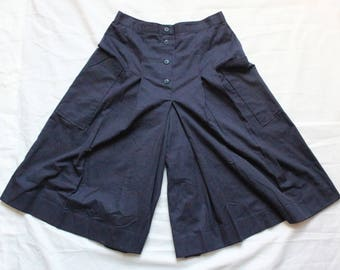 Cacharel, Culottes, flared pants, palazzo, vintage, Navy Blue, pleated pants, high waist, made in France, S / M, 36 / 38