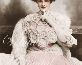 Actress Billie Burke in beautiful dress. Digital download  -  Edwardian Vintage Postcard.