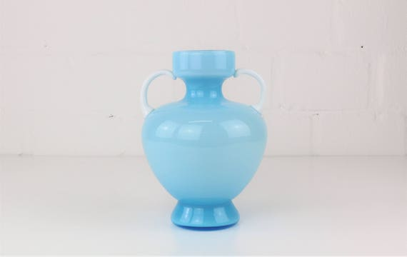 Extravagant, light blue vintage glass vase Murano era