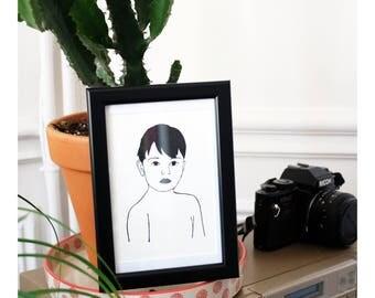 "Map ""Little boy"" - framed"