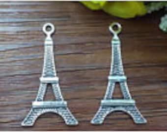 Silver Eiffel Tower Charms 35 x 18 mm