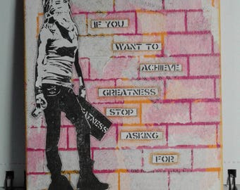 "Original Mixed Media 5"" by 7"" canvas board 'Achieve Greatness'"