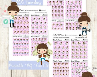 Two Dollar  Tuesday Functional Girls1 LIGHT Printable Planner Stickers/Weekly Kit/For Use with Erin Condren/Cutfile Fall September Work Glam