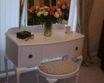 Queen Anne Style Dressing table and stool.