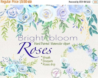 Spring Sale Watercolor Clipart Bright bloom roses ,Floral wreath ,Floral Bouquets clipart,Spring,Wedding Clipart,rose clipart,Mother's Day C