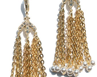 Chandelier Pearl  Ball and Chain   Earrings Edie  Sedgwick style