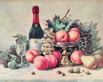 Mid Century Print of Fruit and Wine