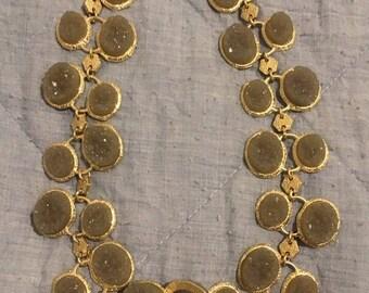 Vintage druzy stones necklace - Handmade