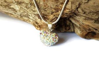 White shamballa reflection Heart Necklace