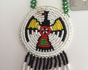 Vintage necklace American Indian 80's, 1980's , boho, beaded jewelry