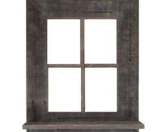 "Window Frame w/ Shelf 22"" x 18"" Rustic Reclaimed Distressed Barn Wood"