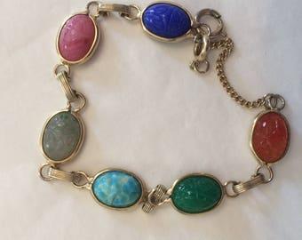 Vintage Scarab Bracelet in Goldtone with 6 Scarabs