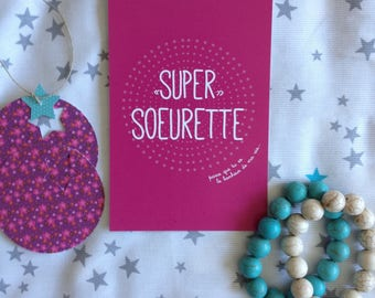 Card 'Super Super sister' to tell him how much she means in your life