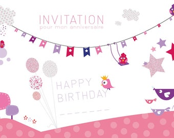 Original card - set of 8 invitation cards - your child's birthday