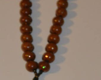 Rosary with black/gold wire crochet necklace