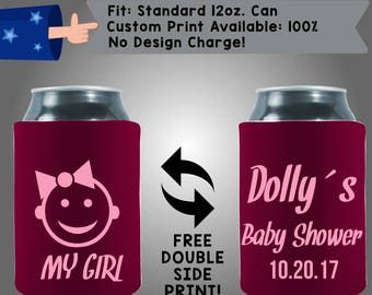 My Girl Name's Baby Shower Date Gender Reveal Collapsible Neoprene Baby Shower Cooler Double Side Print (BS125)