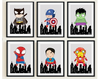 Superhero print, superhero and skyscraper-bedroom, playroom print, Nursery, Batman,Superman,Spiderman,Hulk,Iron Man,Captin American,Flash