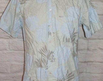 "Size M 40"" vintage 90s hawaiian short sleeve slim fit shirt baby blue (HI01)"