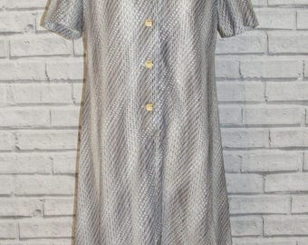 Size 14 vintage 60s s/sleeve collared button a line dress geometric print (HR70)