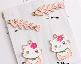 Cat Charms, 10PCS, Enamel Charm, Fish Bone Charm, Cat and Fish Charm, Jewelry Findings, Craft Supplies
