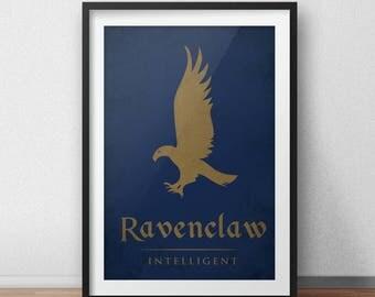 Harry Potter Art Print - Hogwarts House Banner, Ravenclaw Poster