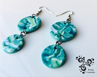 Round earring pacific colors from cold porcelain - mokume gane